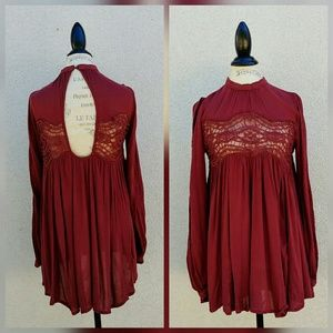 Free People drapped babydoll maroon shirt lace